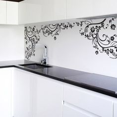 Swirl Floral Flower Decal in Black. @Kally Mutarelli   I can totally see this in your kitchen!