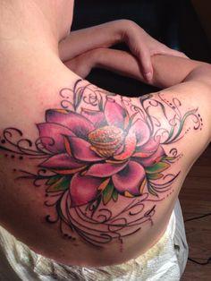 Lotus Flower Tattoo On Shoulder