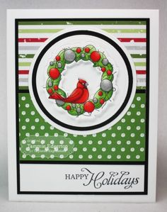 HAPPY HOLIDAYS Card  by Tammie Edgerton #Christmas, #Cardmaking