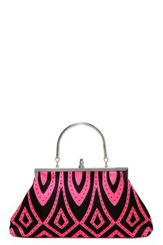 Folter - Black And Pink Retro Print Handbag