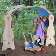 Waldorf Wooden Playstands with Canopies. Made in Maine. From Bella Luna Toys.