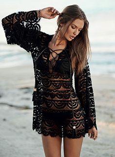 Beautiful crocheted long-sleeve tunic with a lace up neckline by Pily Q Swimwear, $134.00 #crochet #tunic #pilyqswim