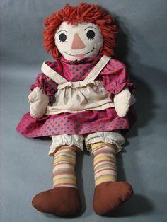 "Handmade Raggedy Ann With Horizontally Striped Legs 22"" Tall - Very Nice! #Dolls"