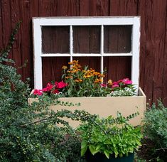 old window frames, craft, old windows, beauti planter, eco diy, window planter, garden, planter boxes, outdoor planters