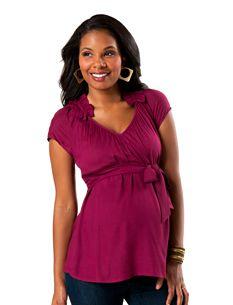 Short Sleeve Ruffled Maternity Blouse $26.98