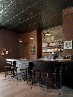 Leather Walls & Tin Ceiling Tiles