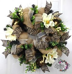 Deco Mesh Burlap Spring Door Wreath Magnolias Nests Eggs Zebra Print Wedding Decor by www.southerncharmwreaths.com $124 #burlap #meshwreath