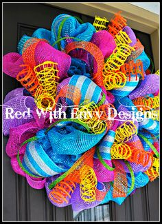 Summer+Wreath+Wreath+Deco+Mesh+Wreath+Deco+by+RedWithEnvyDesigns,+$68.75