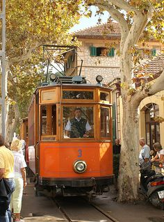 Old tram in Port Soller, Mallorca, Spain
