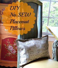 #diy no #sew #placemat #pillows