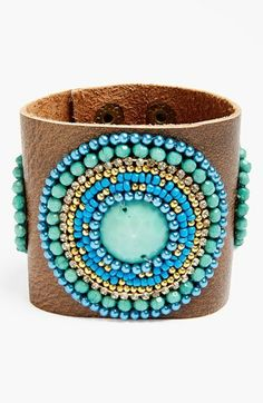 Robert Rose Beaded Leather Cuff