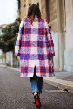 Pink Plaid Coat and christian louboutin shoes @HeeledShoes