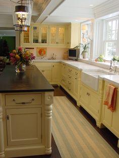 Long Narrow Kitchen With Island white on cream.