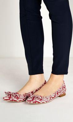 Flats and Bows! darl shoe, red flat, print flat, tribal prints, bow flat