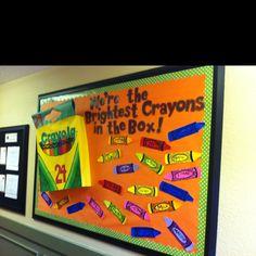 back to school bulletin board :) classroom idea, school bulletin boards, student teaching, teacher, brightest crayon, preschool, board idea, back to school, crayon box