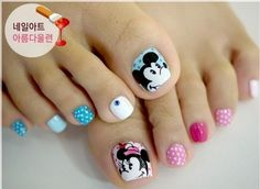 Cute Mickymouse pedicure nail design www.nailsinspiration.com #pedicure #nail #art