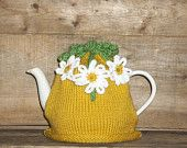 Knitted Flower Tea Cosy - Handmade Flower Tea Cozy with Curly-Cues -Original Design