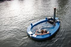HotTug (€11,450; roughly $14,800 and up). This ingenious little boat is made from wood and fitted with glass fiber reinforced polyester, uses a stainless steel stove with a single wall pipe to keep the water as warm as you like, and is powered by either an electric or standard outboard motor.