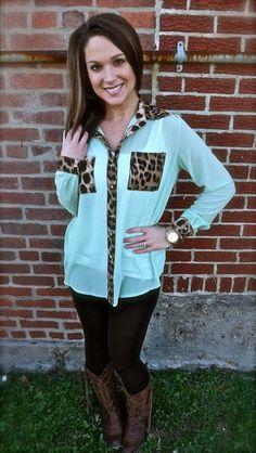 blouses, cheetahs, texas style, dates, dream closet, date outfits, dress, mint, shirt
