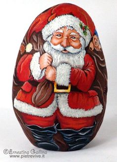 """""""Babbo Natale"""" by ©Ernestina Gallina : Written in Stone Rock Painting Project"""