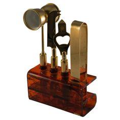 open knife, vintage, doubl jigger, bottle openers, bar tool, set includ, bottl open, goldton vintag, amber lucit