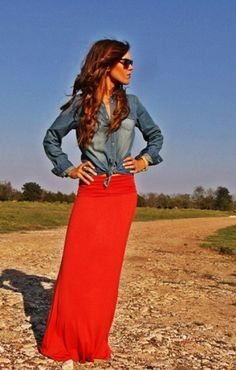 Adorable and comfy!! maxi dresses, button, long hair, outfit, long skirts, denim shirts, jean jackets, red maxi, maxi skirts
