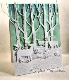 christma card, die cut, birch, memori box, babykid card, box deer, forest, deer card, handmade christmas cards