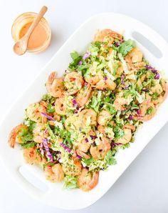 lightened up bang bang shrimp with napa cabbage slaw