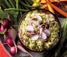Stress-Free Dinner Party Recipes: Pistachio Guacamole. Keep it cool: Stop guac from going brown on you; Press plastic wrap on top and refrigerate for up to a day. #SelfMagazine