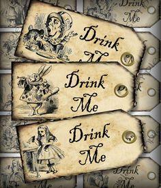 DIY Wedding Drink Me Alice in Wonderland Wedding Favor Tags Party Favor Tags Digital Collage Sheet DIY Printable Download