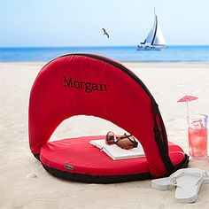 On The Go! Personalized Reclining Chair - personalize it with any name in any color ... this would be AWESOME to have to bring to the beach or anywhere!