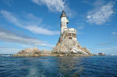Aniva Rock, abandoned nuclear polar lighthouse, Russia