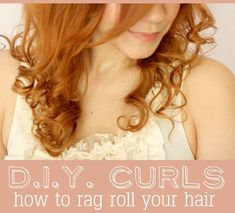 Rag roll curls...  I don't think I did it right.  I think I'll stick with the ceramic iron.