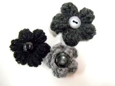 Three Boutonnieres, Mens Accessories, Wedding Flowers, Formal Wear, Lapel Pins, Black Boutoniere