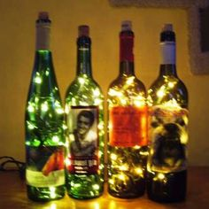 Wine bottles with lights