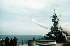 USS Wisconsin firing a BGM-109 Tomahawk cruise missile in the Persian Gulf during Operation Desert Storm, 18 Jan 1991.