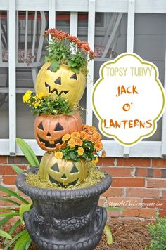Topsy turvy fall planters made from inexpensive trick-or-treating pails | Cottage at the Crossroads