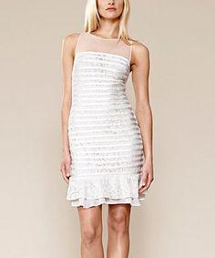 Look what I found on #zulily! White Sheer Panel Stripe Dress by Julia Jordan #zulilyfinds