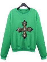 #sheinside  Green Long Sleeve Beading Cross Embroidery Sweatshirt $39