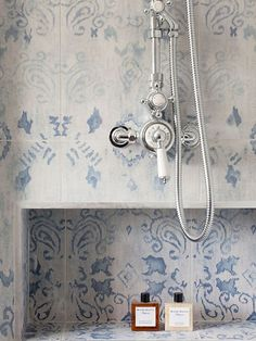 Faded blue and white tile