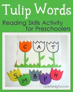 activities for kids, craft activities, tulip, word family activities, word families