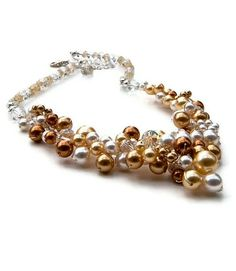 Gold Pearl Necklace, Gold Cluster Necklace, Bridal Necklace, Wedding Jewelry