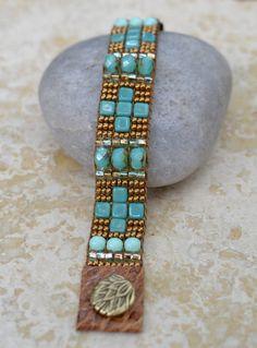 Loomed Beaded Bracelet - Sundance Style Artisan Jewelry - Copper and Turquoise -  Santa Fe by SplendorVendor