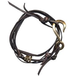Giles and Brother by Phillip Crangi's brass and leather bracelet, $125, gilesandbrother.com
