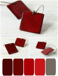 Red enamel earrings casual minimalist sterling silver  by alery, $22.00
