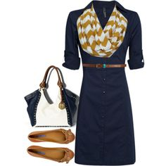 { Teacher Style } Navy blue 3/4 sleeve shirt dress, mustard yellow and white chevron scarf, tan leather skinny belt, tan leather flats.