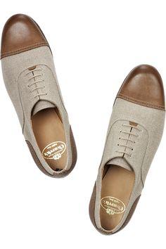 Deborah linen and leather brogues by Church's