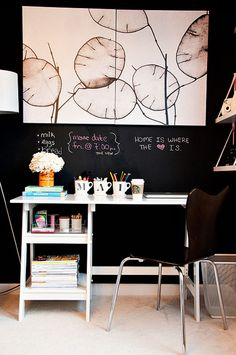 A Cup of Mai | closet-turned-office + chalkboard walls + bold art + white desk