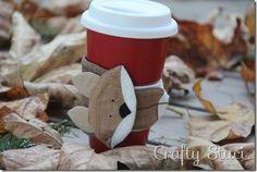 sew, fox, cup sleev, morning coffee, craft patterns, coffee cups, craft ideas, coffe cup, coffe sleev
