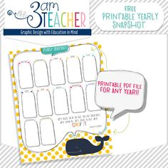 FREE Printable Yearly Snapshot Calendar for any year by The 3AM Teacher!!!